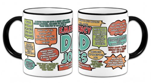 Emergency Dad Jokes Funny Novelty Gift Mug - Black Handle/Rim
